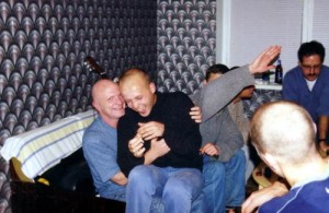 Buck at a party with some friends in Russia